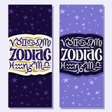Vector vertical banners for Zodiac Symbols. 12 astrology signs for predicting horoscope on blue cosmic abstract background consisting of constellations with Royalty Free Stock Image