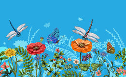 Vector vertical border with dragonflies, butterflies, flowers, grass and plants. Summer style. Seamless nature border Stock Photography