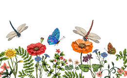 Vector vertical border with dragonflies, butterflies, flowers, grass and plants. Summer style. Seamless nature border Royalty Free Stock Photography