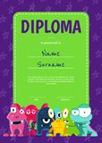 Vector vertical children diploma or certificate with crowd of cute cartoon monsters on stars background. Poster template illustration Royalty Free Stock Image