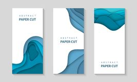 Vector vertical flyers with blue color paper cut waves shapes. 3D abstract paper style, design layout for business presentations royalty free illustration