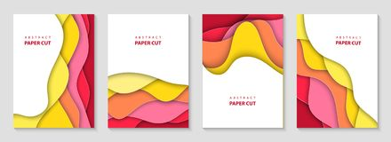 Vector vertical flyers with colorful paper cut waves shapes. 3D abstract paper style, design layout for business presentations royalty free illustration