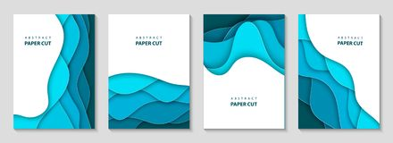 Vector Vertical Flyers With Blue Paper Cut Waves Shapes. 3D Abstract Paper Style, Design Layout For Business Presentations, Flyers Royalty Free Stock Photos