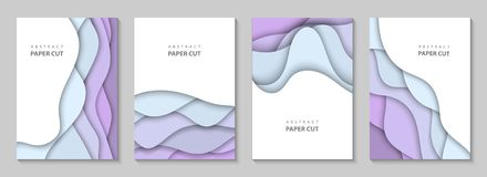 Vector Vertical Flyers With Colorful Paper Cut Waves Shapes. 3D Abstract Paper Style, Design Layout For Business Presentations Stock Images