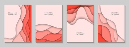Vector Vertical Flyers With Coral Paper Cut Waves Shapes. 3D Abstract Paper Style, Design Layout For Business Presentations, Royalty Free Stock Image
