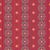 Vector Vertical Folk Daisies with stripes on red seamless pattern background. royalty free illustration