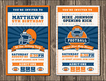 Vector Vertical Football Invitation Stock Images