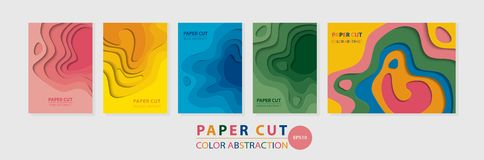 Vector vertical and horizontal multicolored 3D abstract A4 templates for various kinds of printed products stock illustration