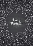 Vector vertical illustration of dairy products. Contoured on black chalkboard background with place for text Stock Image