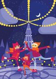 Vector vertical illustration with lovely family skating on ice rink at Christmas night. Cartoon characters with smiling faces. Chr. Istmas illumination from Royalty Free Stock Images