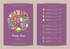 Vector vertical menu template with nonalcoholic drinks in glasses, like smoothie, tea, coffee, juice in flat style. Illustration of menu with juice drink Stock Photo