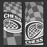 Vector vertical monochrome banners for Chess. Game with copy space, in layouts black & white curved squares for title on chess theme, original font for word vector illustration