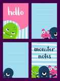 Vector vertical note cards set with cute monsters on brush stripes background Stock Photo