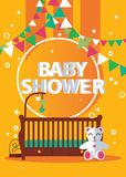Vector vertical poster on yellow background for newborn baby shower in bright colors. Cradle, teddy bear and celebration flags for royalty free illustration