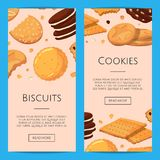Vector vertical web banners with cartoon cookies. Vector vertical web banners poster with cartoon cookies illustration Royalty Free Stock Photo