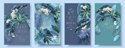 Tropical leaves turquoise and violet wedding cards vector illustration