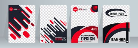 Vector Verticale Banner Bannerontwerp in verschillende kleur drie Abstracte geometrisch royalty-vrije illustratie