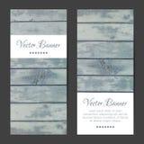 Vector verticale banners, geplaatste kaarten Houten planken Stock Foto