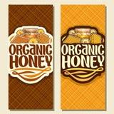 Vector verticale banners voor Organische Honing Stock Afbeelding