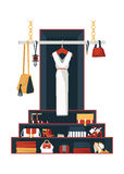 Vector verticale illustratie met hand getrokken lange kleding op hange Stock Foto