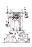 Vector verticale illustratie met hand getrokken lange kleding op hangers in creatief grafisch binnenland Zwart-witte maniertekeni Royalty-vrije Stock Afbeeldingen