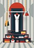 Vector verticale illustratie met hand getrokken witte kleding op hangers in creatief grafisch binnenland Kleuren geometrische ill Stock Fotografie