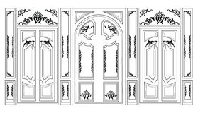 Vector verzierte Rahmen des Wainscoting dekorativer Damast für Wände oder Hintergründe Lizenzfreies Stockfoto