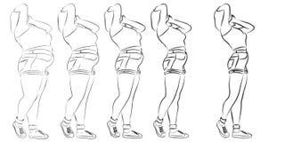 Vector vet te zwaar zwaarlijvig wijfje versus slanke pasvorm stock illustratie