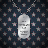 Vector Veterans day background with dog tags.