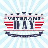Vector Veterans Day background with stars, ribbon and lettering. Template for Veterans Day. Stock Photography