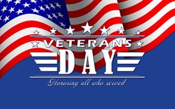 Vector Veterans Day background with stars, USA flag and lettering. Template for Veterans Day. Veterans Day background with stars, USA flag and lettering vector illustration