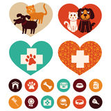 Vector veterinary emblems and signs Royalty Free Stock Images