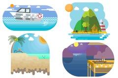 Vector viagens da ilustração e viaje ao mar e ao estilo liso da praia ilustração stock
