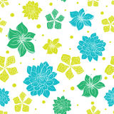 Vector Vibrant Blue Green Exotic Flowers Seamless Royalty Free Stock Photo