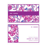 Vector vibrant field flowers horizontal stripe. Frame pattern business cards set graphic design Royalty Free Stock Photos
