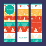 Vector vibrant ikat stripes vertical banners set Stock Images