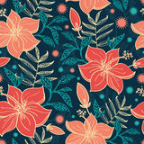 Vector Vibrant Tropical Hibiscus Flowers Seamless Royalty Free Stock Photography