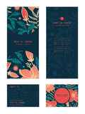 Vector vibrant tropical hibiscus flowers vertical Royalty Free Stock Image