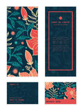 Vector vibrant tropical hibiscus flowers vertical Stock Photography
