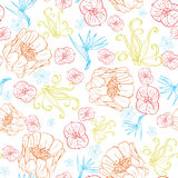 Vector Vibrant Tropical Orange Blue Flowers Royalty Free Stock Images