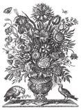 Vector Victoriaans bloemboeket in vaas met vogels Stock Afbeeldingen