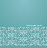 Vector victorian background. With copy space - white ornate border on blue Stock Photos