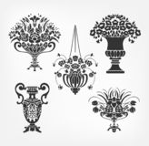 Vector victorian baroque design elements flower vase set stock illustration