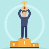 Vector victory concept. Man holding golden bowl - illustration in flat retro style Royalty Free Stock Image