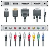 Vector video and audio connectors Stock Photos