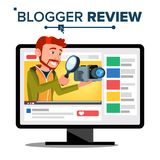 Vector video del Blogger de la prueba Canal del blog Blogger video popular de la flámula del hombre Concepto del comentario Live  libre illustration