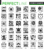 Vector Video games classic black mini concept icons and infographic symbols set. Vector Video games classic black mini concept icons and infographic symbols set Stock Photo