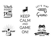 Vector video games labels set. Arcade game room. Let s play videogame. Gum machine. gumball. Royalty Free Stock Photography