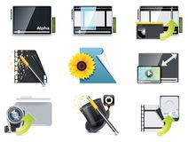 Vector video icons. Set of the video editing related icons Royalty Free Stock Photography