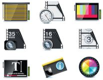 Vector video icons. Set of the video editing related icons Royalty Free Stock Image